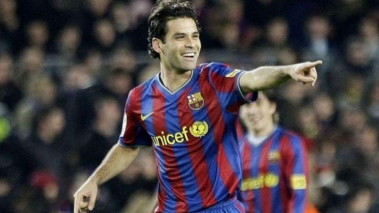 Rafa Márquez en festejo de gol con el Barcelona