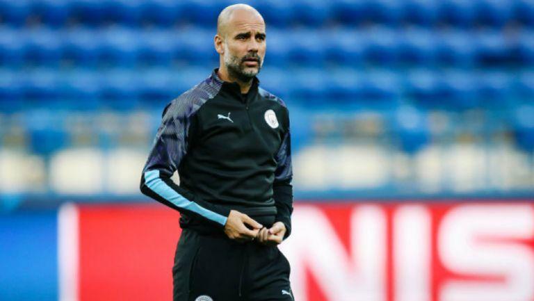 Pep Guardiola, durante un entrenamiento con el Man City