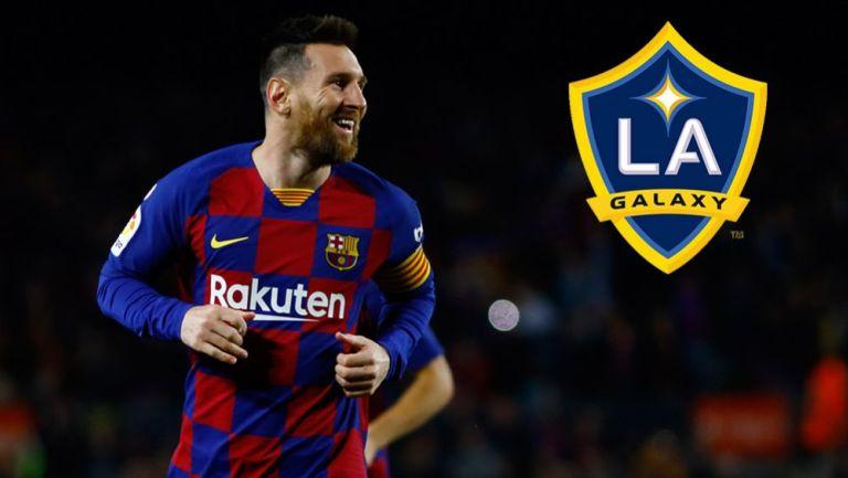 Messi festeja un gol con Barcelona