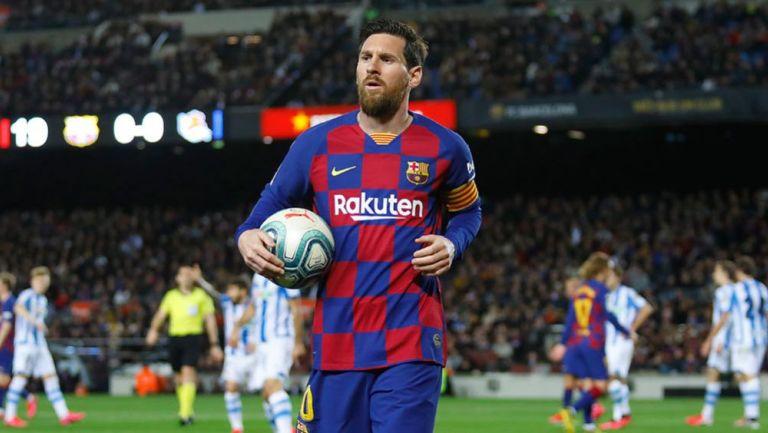 Messi en un juego del Barcelona en Camp Nou