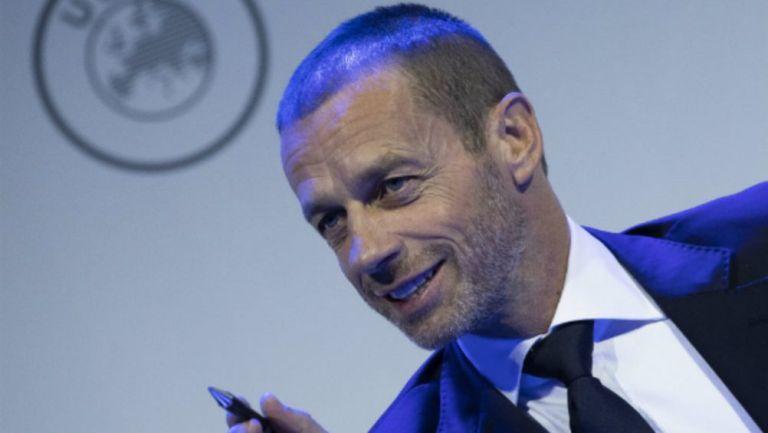 El presidente de la UEFA Aleksander Ceferin durante el congreso de la UEFA