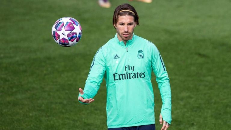 Sergio Ramos durante un entrenamiento con Real Madrid