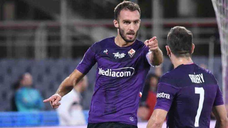 Germán Pezzella, celebra una anotación con la Fiorentina