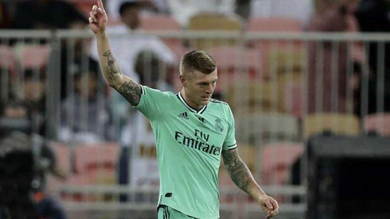 Toni Kroos celebra una anotación con el Real Madrid