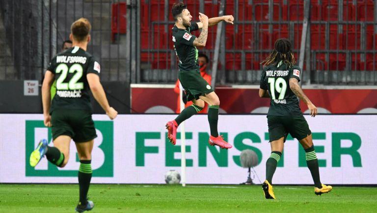 Wolfsburgo en festejo de gol