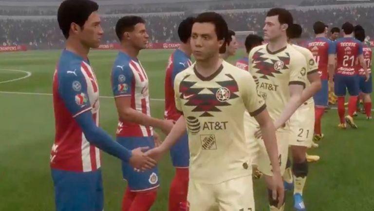 Jugadores de América y Chivas se saludan antes de un juego de eliga MX