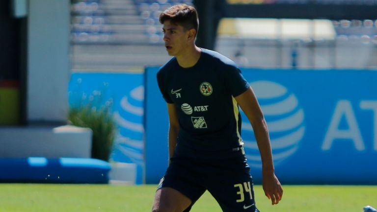 Haret Ortega durante un entrenamiento con América