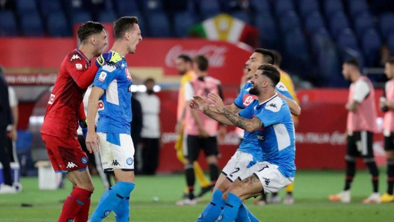 Jugadores de Napoli celebrando el título de la Coppa de Italia