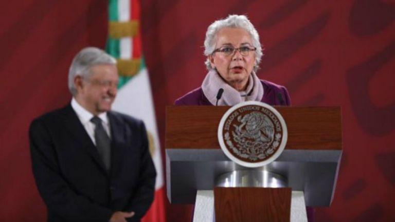 Olga Sánchez Cordero en conferencia de prensa