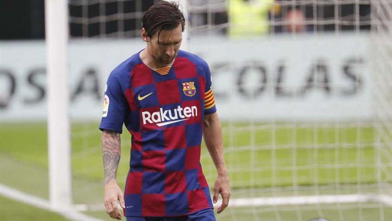 Messi se lamenta tras el gol del Celta