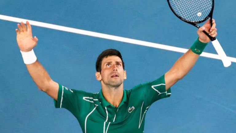Djokovic celebra en un partido