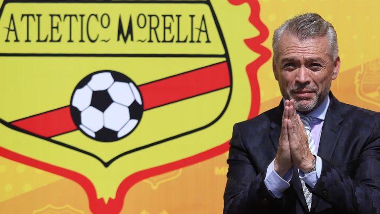 Higuera, en su presentación con Atlético Morelia