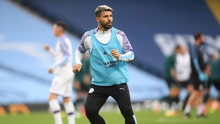 Sergio Agüero previo a un partido con el City