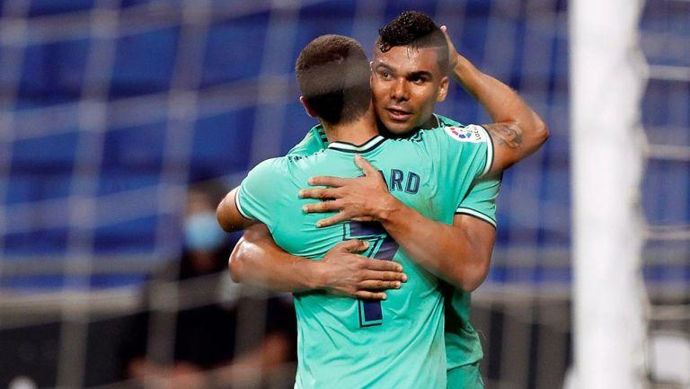 Casemiro festeja gol con Real Madrid