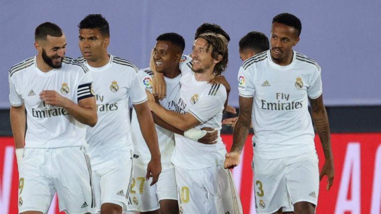 Jugadores del Real Madrid en celebración