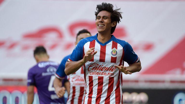 Macías, tras anotar un gol a Mazatlán en la Copa por México