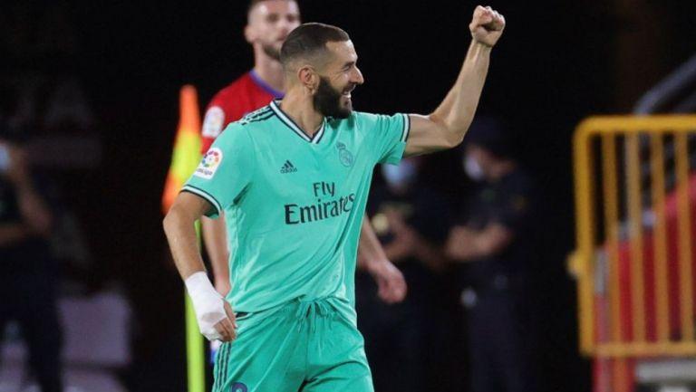 Karim Benzema celebrando una anotación con Real Madrid