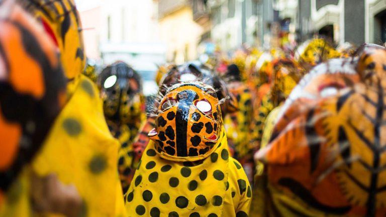 Personas vestidas de jaguares durante el Cervantino