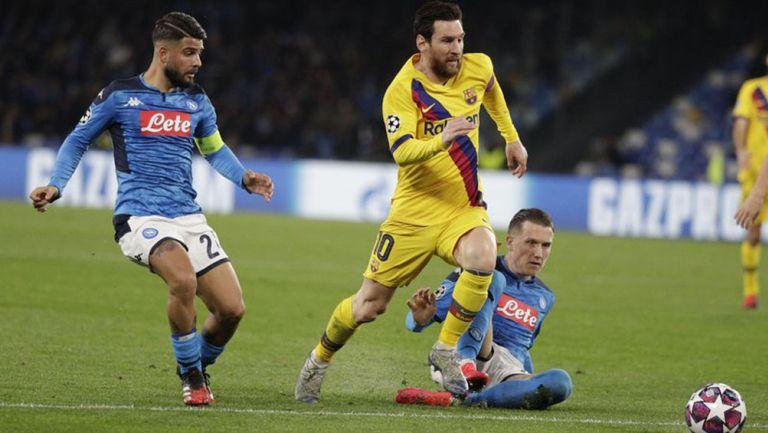 Messi durante la Ida de Octavos de Champions League