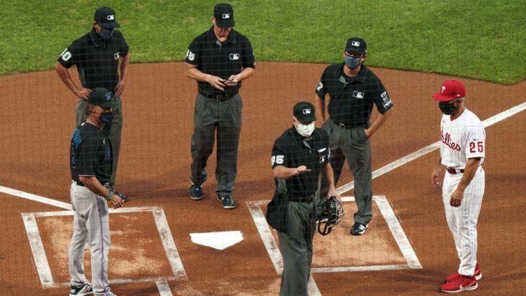 Jugadores de MLB antes de un partido