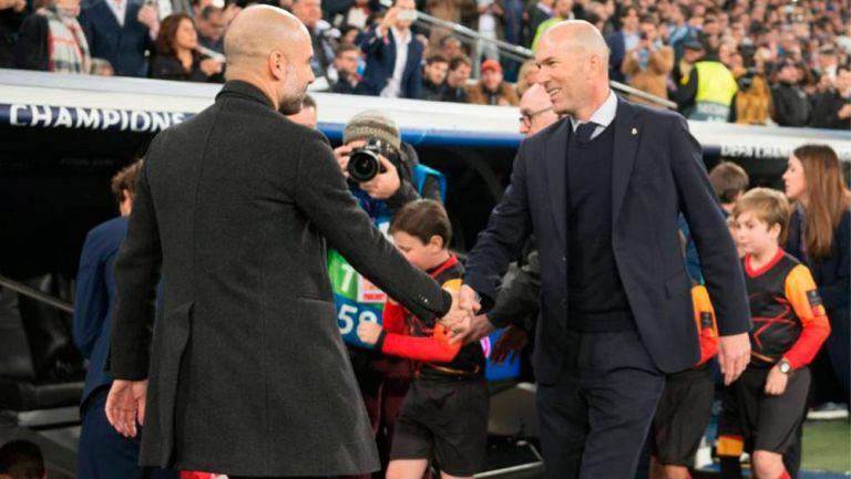 Saludo de Zidane y Guardiola antes de un juego
