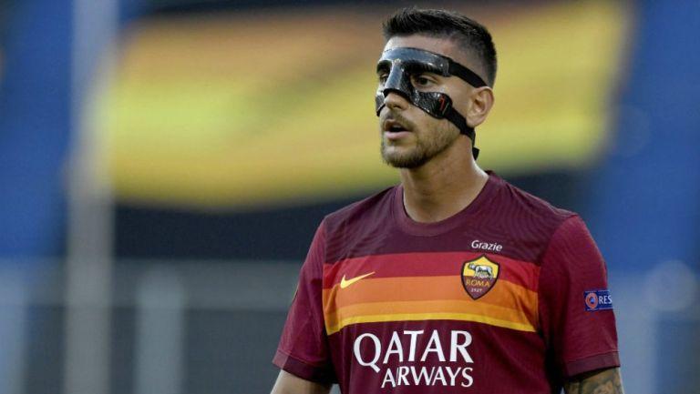 Lorenzo Pellegrini con el mensaje 'Grazie' en la camiseta
