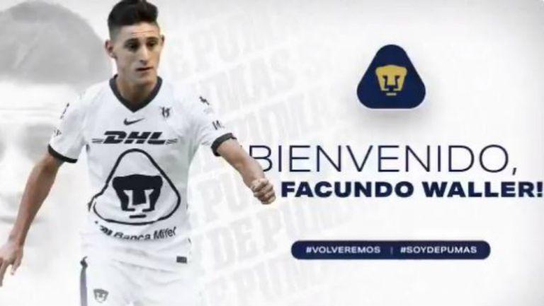 Pumas: Facundo Waller fue anunciado como nuevo refuerzo auriazul