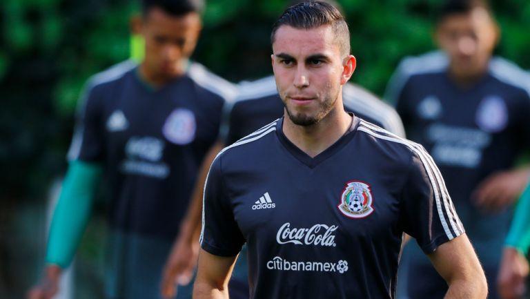 Alejandro Mayorga previo a un entrenamiento con el Tricolor