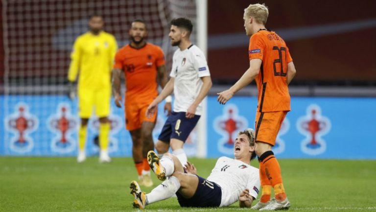 Nicolo Zaniolo en lamento con Italia
