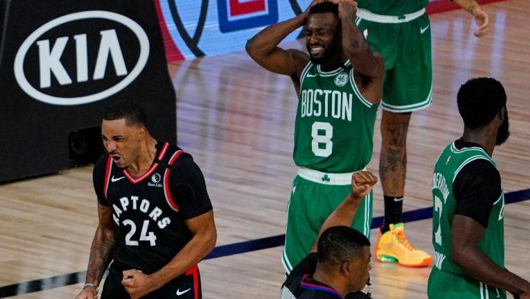 Powell celebra ante el lamento de los Celtics