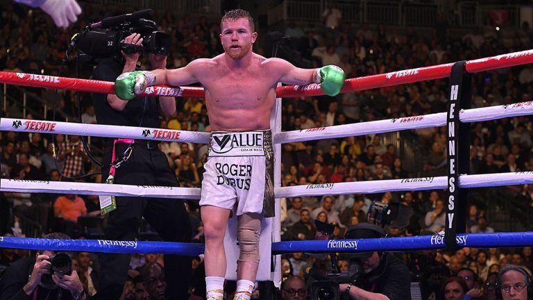 Canelo Álvarez en la pelea contra Jacobs
