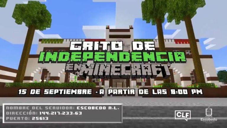 El grito en Escobedo, Nuevo León será a través de Minecraft