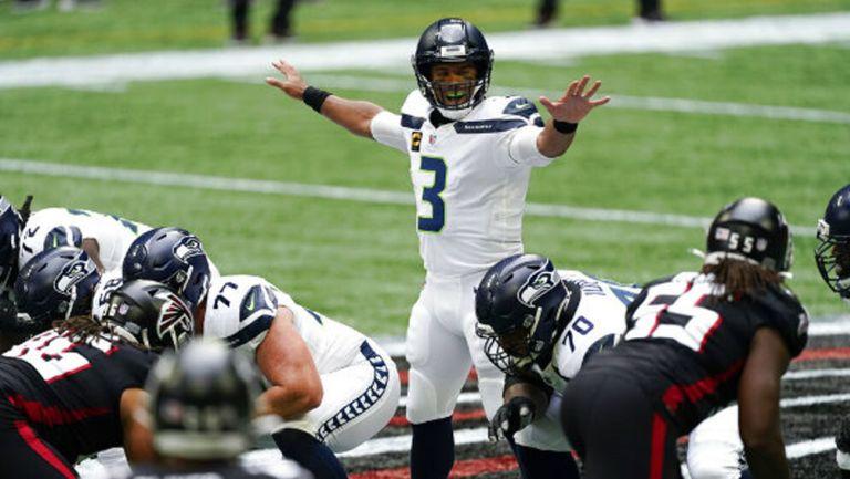 Russell Wilson en acción con Seattle Seahawks