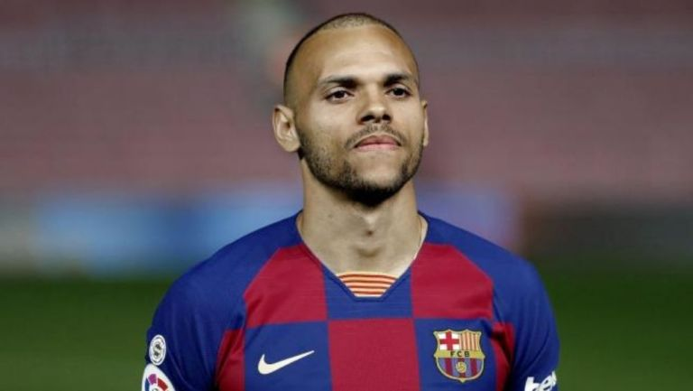 Martin Braithwaite en partido con Barcelona