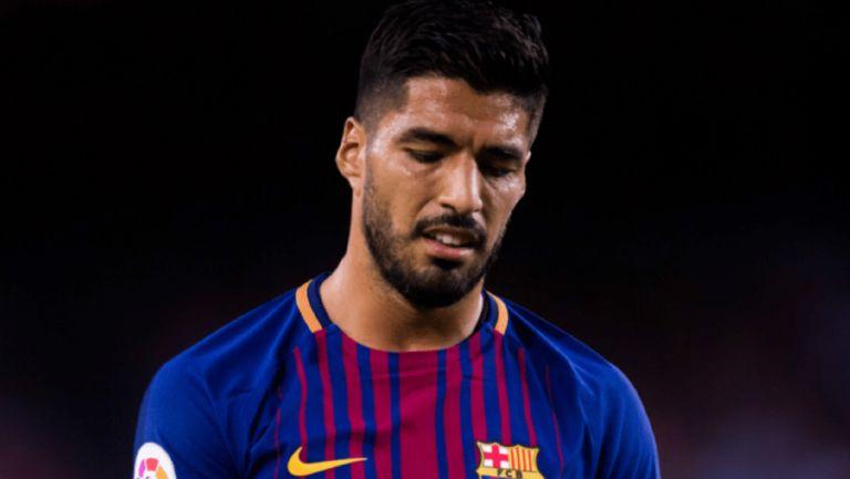 Luis Suárez se lamenta durante un duelo del Barcelona