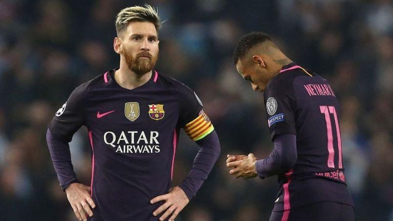 Messi y Neymar en un partido de Barcelona