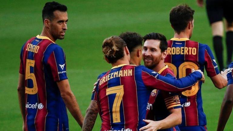 Jugadores de Barcelona durante un partido amistoso
