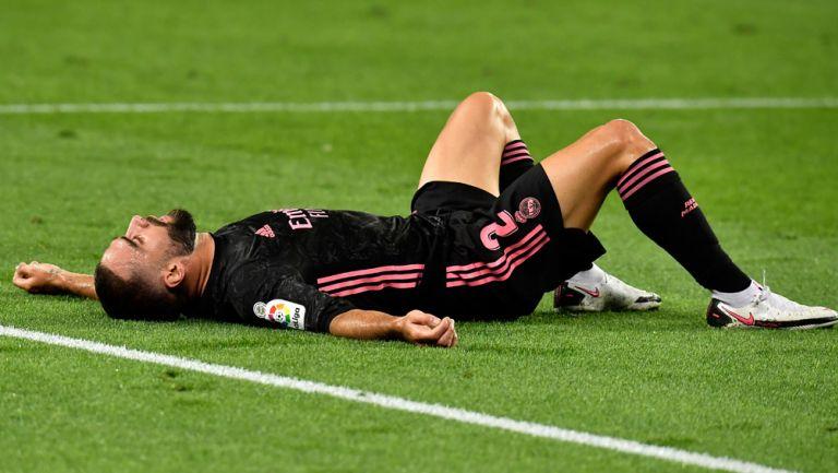 Dani Carvajal durante un duelo con el Real Madrid