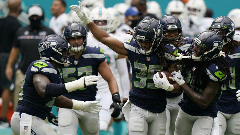 Seahawks en festejo de TD
