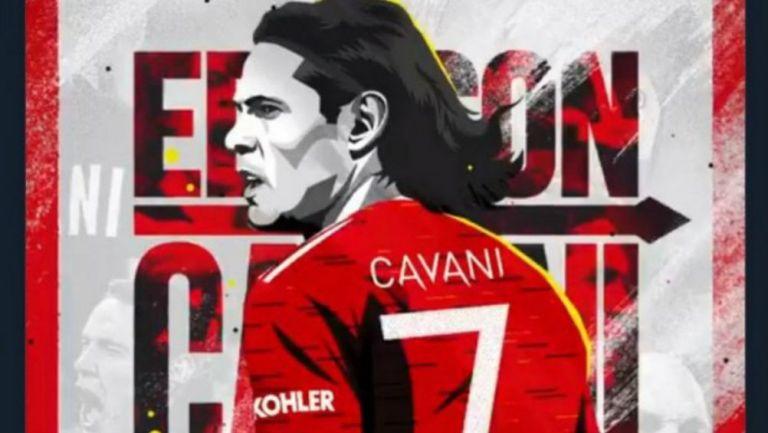 Cavani con el dorsal 7 en Manchester United