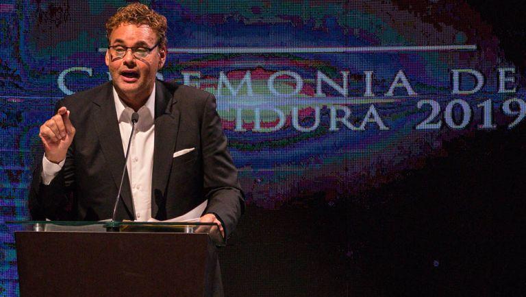 David Faitelson, durante ceremonia de investidura del Salón de la Fama 2019