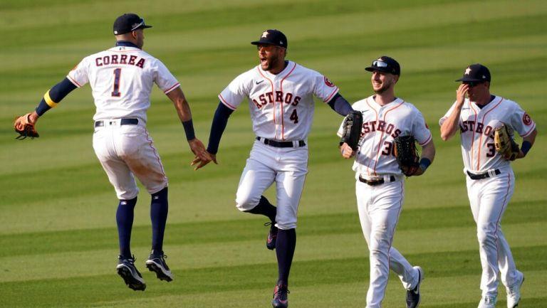 Jugadores de los Astros celebran pase a Final de Campeonato