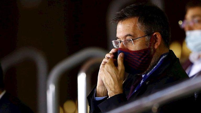 Josep María Bartomeu durante un partido del Barcelona
