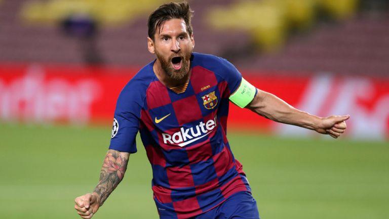 Lionel Messi festeja un gol con el Barcelona