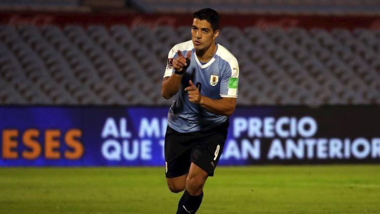 Luis Suárez festejando un gol con Uruguay