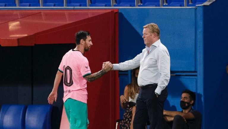 Koeman y Messi en un partido del Barcelona