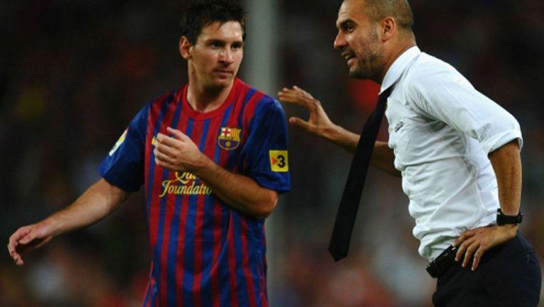 Guardiola le da un consejo a Messi