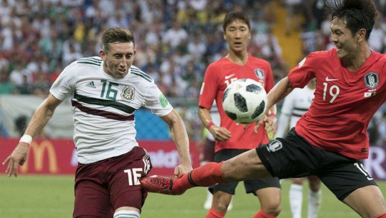 Héctor Herrera en acción ante Corea del Sur
