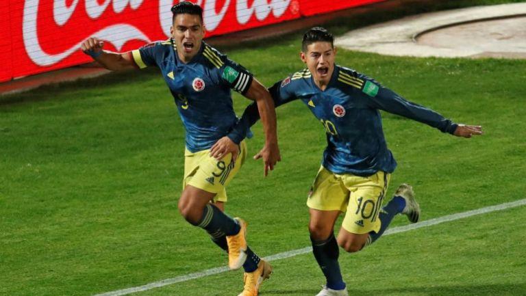 Falcao y James Rodríguez celebrando una anotación