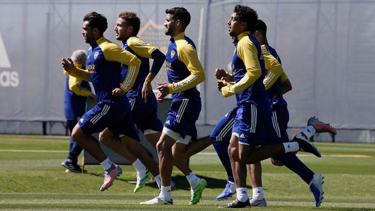 Jugadores de Boca Juniors, en un entrenamiento